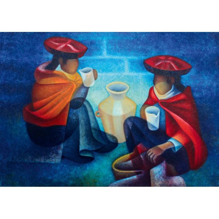 Puzzle Art-by-Bluebird-60141 Louis Toffoli - Les Marchandes (Pérou), 1975
