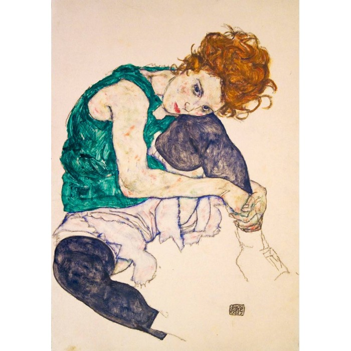 Puzzle Art-by-Bluebird-Puzzle-60092 Egon Schiele - Seated Woman with Legs Drawn Up, 1917