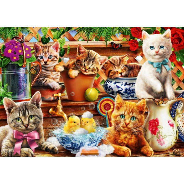 Puzzle Bluebird-Puzzle-70241-P Kittens in the Potting Shed