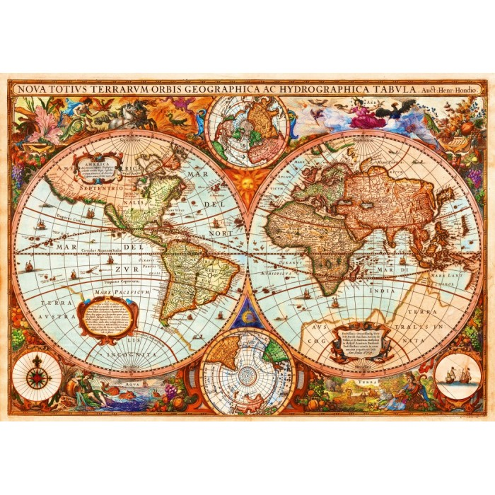 Puzzle Bluebird-Puzzle-70329-P Vintage Map