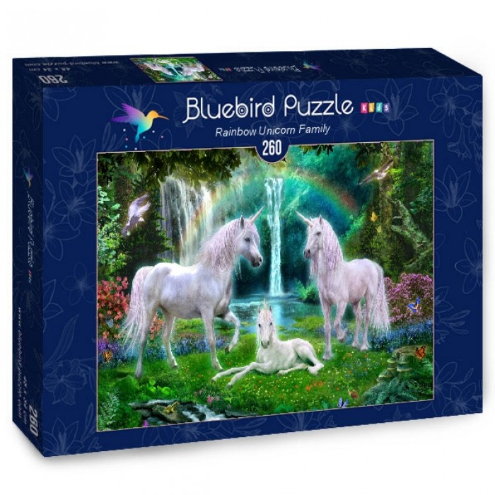 Puzzle Bluebird-Puzzle-70386 Rainbow Unicorn Family
