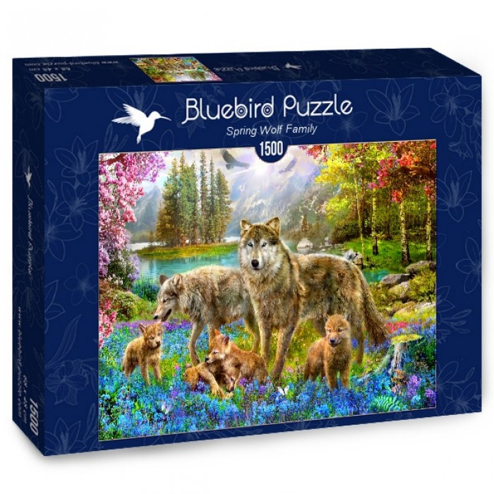 Puzzle Bluebird-Puzzle-70195 Spring Wolf Family