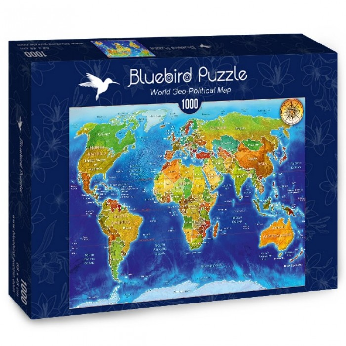 Puzzle Bluebird-Puzzle-70337-P World Geo-Political Map