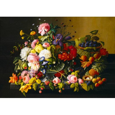 Bluebird-Puzzle - 1000 pieces - Severin Roesen - Still Life, Flowers and Fruit, 1855