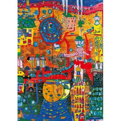 Bluebird-Puzzle - 1000 pieces - Hundertwasser - The 30 Days Fax Painting, 1996
