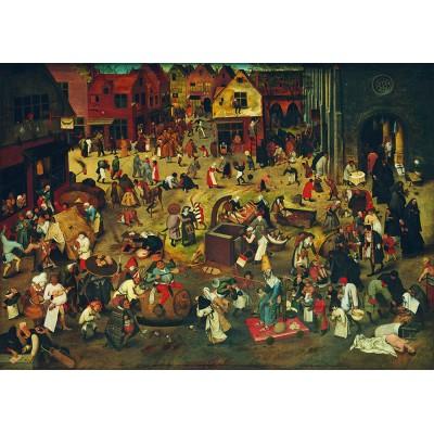 Bluebird-Puzzle - 1000 pieces - Pieter Bruegel the Elder - The Fight Between Carnival and Lent, 1559