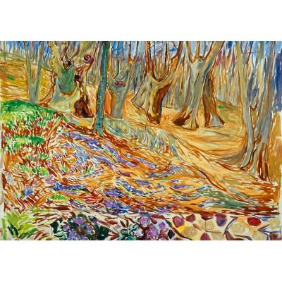 Bluebird-Puzzle - 1000 Teile - Edvard Munch - Elm Forrest in Spring, 1923