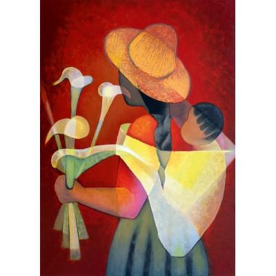 Bluebird-Puzzle - 1000 pieces - Louis Toffoli - La Vendeuse d'Arums, 1996