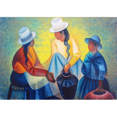Bluebird-Puzzle - 1000 pieces - Louis Toffoli - Femmes à la Potiche Bleue, 1977
