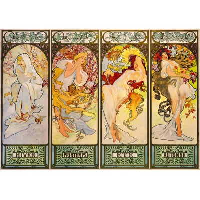 Bluebird-Puzzle - 1000 pièces - Mucha - Four Seasons, 1900