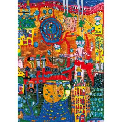 Bluebird-Puzzle - 1000 pieces - Hundertwasser - The 30 Days Fax Painting, 1996
