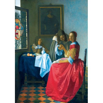 Bluebird-Puzzle - 1000 Teile - Vermeer- The Girl with the Wine Glass, 1659