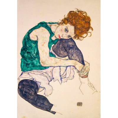 Bluebird-Puzzle - 1000 pieces - Egon Schiele - Seated Woman with Legs Drawn Up, 1917
