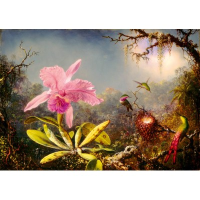 Bluebird-Puzzle - 1000 pieces - Martin Johnson Heade - Cattleya Orchid and Three Hummingbirds, 1871