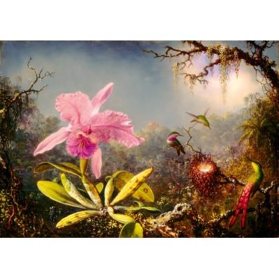 Bluebird-Puzzle - 1000 Teile - Martin Johnson Heade - Cattleya Orchid and Three Hummingbirds, 1871