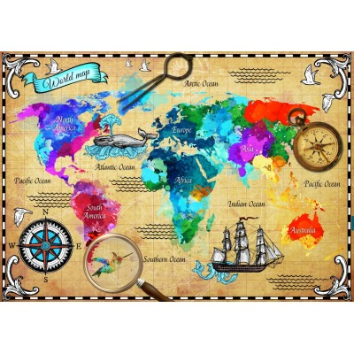 Bluebird-Puzzle - 2000 pieces - Colorful World Map