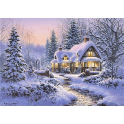 Bluebird-Puzzle - 500 pieces - Winter's Blanket Wouldbie Cottage