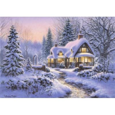 Bluebird-Puzzle - 500 pièces - Winter's Blanket Wouldbie Cottage