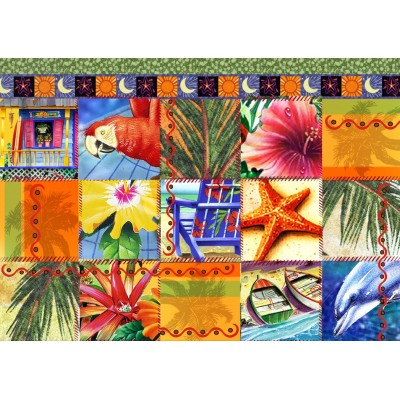 Bluebird-Puzzle - 1500 pieces - Tropical Quilt Mosaic