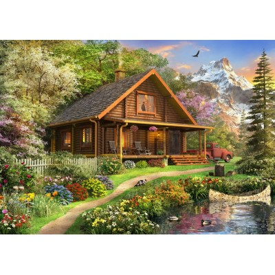 Bluebird-Puzzle - 500 pieces - A Log Cabin Somewhere in North America