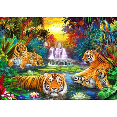 Bluebird-Puzzle - 1000 pieces - Family at the Jungle Pool