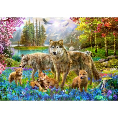 Bluebird-Puzzle - 1500 pieces - Spring Wolf Family