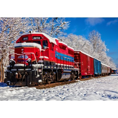 Bluebird-Puzzle - 1500 pieces - Red Train In The Snow
