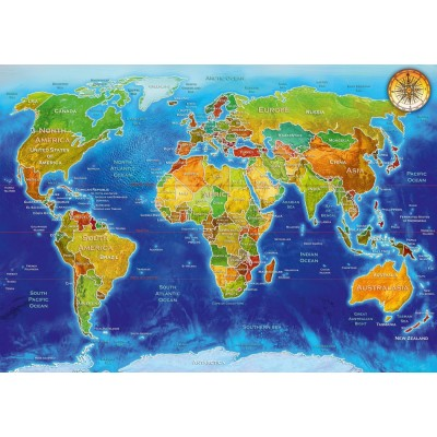 Bluebird-Puzzle - 1000 pièces - World Geo-Political Map