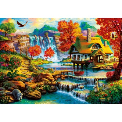 Bluebird-Puzzle - 1000 Teile - Country House by the Water Fall