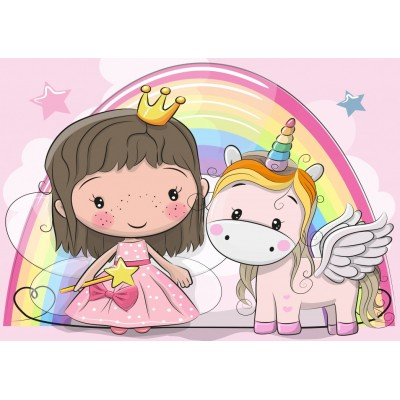 Bluebird-Puzzle - 48 pièces - The Unicorn and The Princess