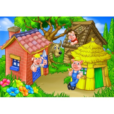 Bluebird-Puzzle - 48 pièces - The Three Little Pigs