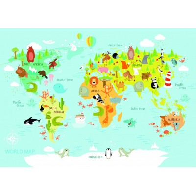 Bluebird-Puzzle - 150 Teile - World Map for Kids