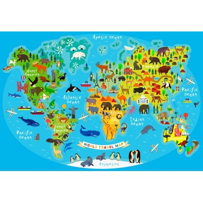 Bluebird-Puzzle - 260 pieces - World Travel Map
