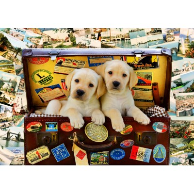 Bluebird-Puzzle - 100 Teile - Two Travel Puppies