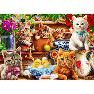 Bluebird-Puzzle - 100 pieces - Kittens in the Potting Shed