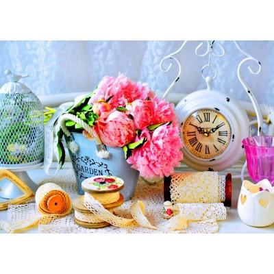 Bluebird-Puzzle - 1000 pieces - Pink Peony Flowers